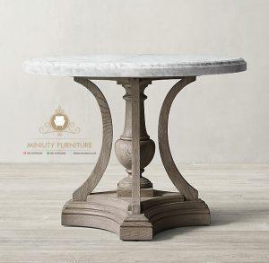 meja vas bunga top marmer modern kayu jepara