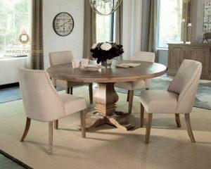model meja makan bulat klasik antik modern terbaru kayu jati jepara