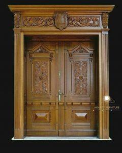 model pintu rumah gapura ukiran klasik kayu jati terbaru