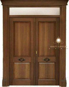 model pintu rumah kupu tarung minimalis kayu jati jepara