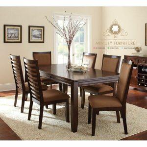 model set meja makan minimalis modern kayu jati terbaru