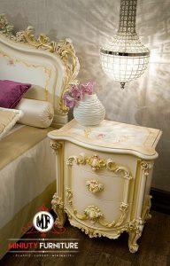 bedside table ukir kayu duco putih terbaru