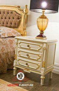 bedside table ukiran duco putih kayu model terbaru