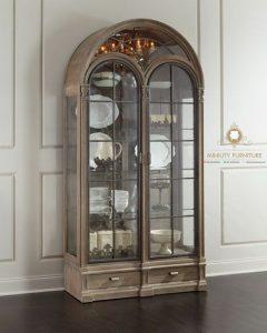 kabinet lemari kaca pajangan rak piring kaca mewah modern