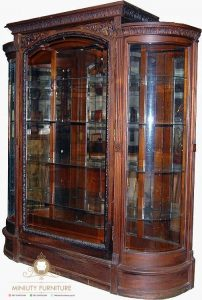 lemari hias melengkung rak kaca kayu jati modern