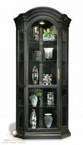 lemari sudut pajangan rak kaca mewah modern elegant