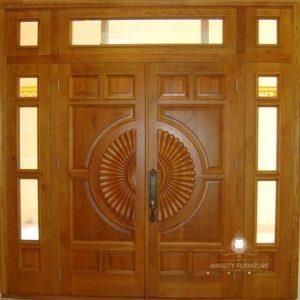 model pintu rumah kupu tarung modern terbaru kayu jati