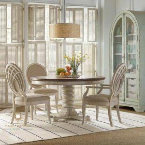 set meja makan klasik modern putih kayu jepara terbaru