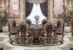 set meja makan ukiran mewah elegant luxury italian style terbaru
