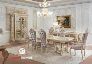 set ruang makan mewah duco putih luxury eropean style