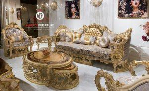 set sofa tamu ukir mewah modern warna emas terbaru