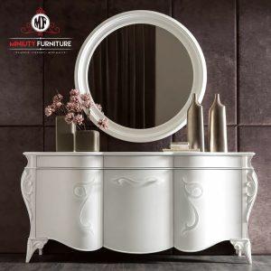 bufet konsul putih model klasik cermin bulat