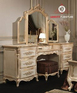 meja rias ukir model klasik duco putih