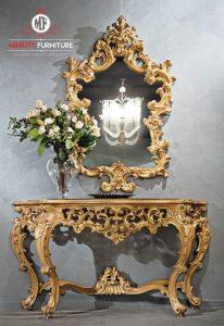 model meja cermin konsul ukir kayu jepara terbaru