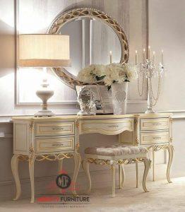 model meja rias ukir klasik modern putih