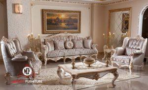 model sofa tamu mewah elegant putih eropean style