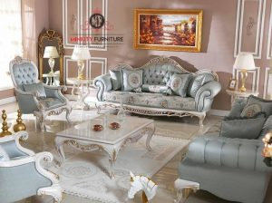 model sofa tamu mewah elegant putih terbaru