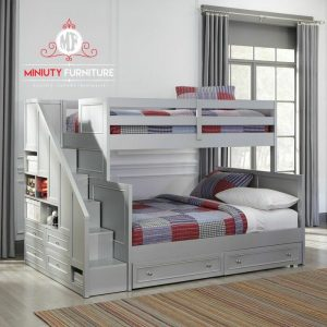 model tempat tidur anak tingkat laci kayu jepara