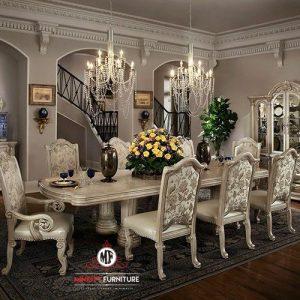 set meja makan ukir klasik antik putih terbaru