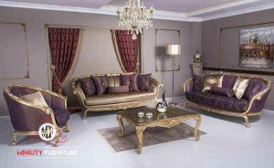 set sofa ruang tamu ukir gold elegant