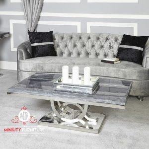 bangku sofa tamu dan meja stainlis modern