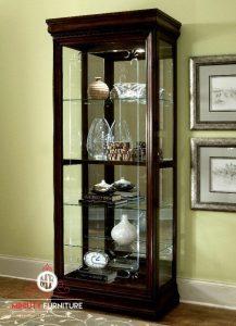 decorative glass cabinet minimalis teak wood