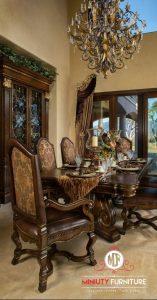 dining table set model klasik ukir kayu jati jepara