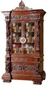 lemari rak buku ukir kayu jati model klasik