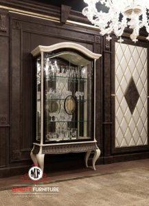 lemari rak kaca klasik modern terbaru