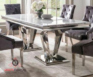 set dining table sultan mewah modern top marmer model terbaru