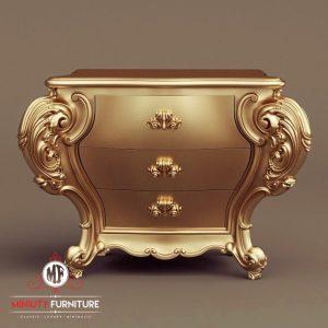 bedside table klasik ukiran warna gold