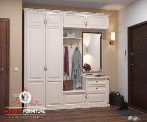 lemari pakaian dan cermin hias warna putih