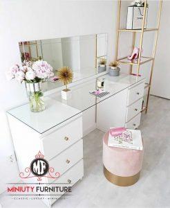 model meja rias minimalis modern warna putih