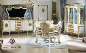 set ruang meja makan mewah sultan warna putih ukiran jepara