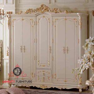 wardrobe duco putih ukiran jepara terbaru