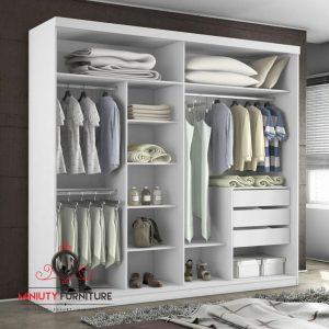 lemari pakaian minimalis modern tanpa pintu