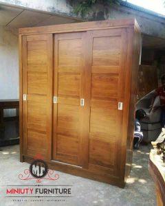 lemari pakaian pintu sleding kayu jati
