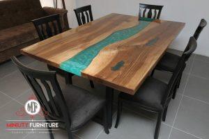 meja makan minimalis top table resin