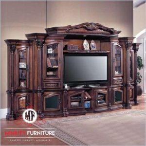 model bufet lemari tv mewah kayu jati