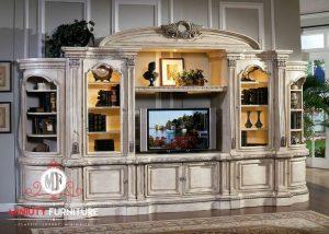 model bufet tv klasik kayu duco putih