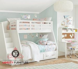set kamar tidur anak kayu duco putih