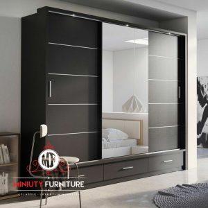 wardrobe minimalis modern pintu sleding kaca