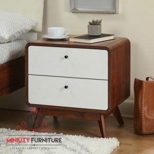 bed side table minimalis retro kayu jati