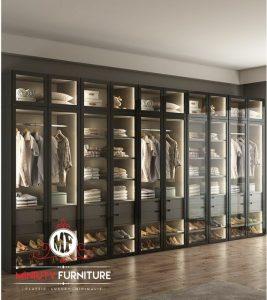 lemari pakaian dan rak sepatu pintu kaca mewah modern