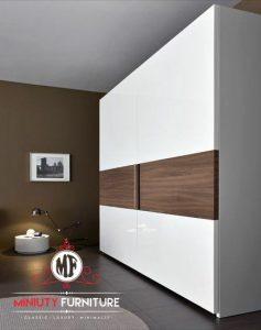 lemari pakaian minimalis modern duco putih
