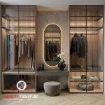 lemari pakaian pintu kaca dan meja rias mewah elegant