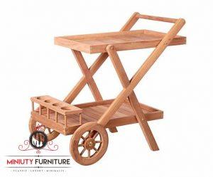 nampan troli roda kayu jati