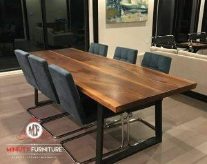 set meja makan minimalis modern kaki besi terbaru