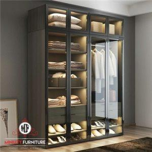 wardrobe mewah elegant pintu kaca