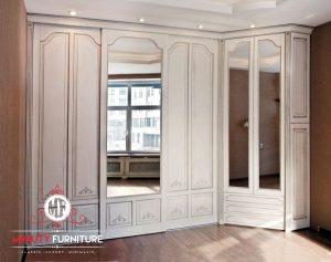 wardrobe model klasik duco putih modern